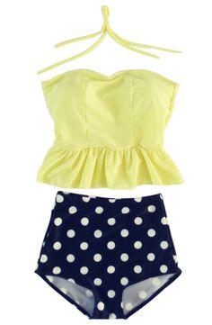 Sandbank Women's Polka Dots Padded Halter Tankini High Waisted Swimsuit