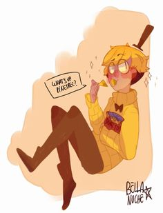 Bill Cipher eating doritos