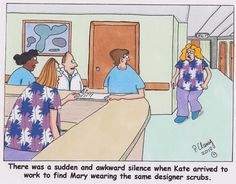 Oh no, she did NOT just walk in wearing the same designer scrubs! #nursing #humor #jokes