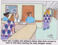 Oh no, she did NOT just walk in wearing the same designer scrubs! #nursing #humor #jokes