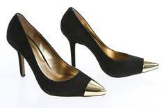 Jessica Simson Black Suede Gold Capped Pointed Toe Slip On Classic Pump 9.5BV #JessicaSimpson #PumpsClassics