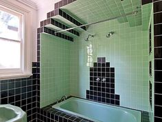 Art Deco Bathroom Tiles Uk designing two bathrooms with colorful tile | beautiful, retro