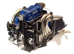 Mercury MerCruiser MAG: This is Mercury Racing's high-performance engine. Beneath that blue supercharger and all of the other components can be found the same L block that is used in the Mercury's and models. Mercury Marine, Boat Engine, Performance Engines, Marine Boat, Outboard Motors, Mechanical Design, Boat Design, Fuel Injection, Power Boats