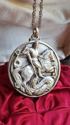 Vintage Spanish Saint George Medal Pendant Art Deco Medallion Religious Gift Catholic Gift Saint Day Catholic Jewelry Dragon Slayer by SacredBarcelona on Etsy