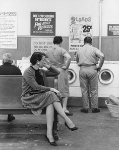 Laundromat, washing laundry, waiting, history, b/w