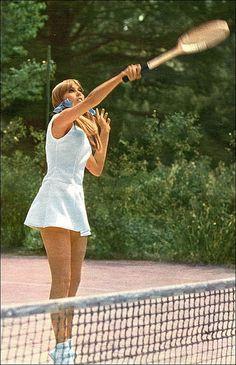 Take outfit inspiration by admiring vintage tennis fashion. Image taken in 1966.