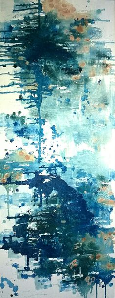"""Blue splash"" painting by FIONA MARES 2017. Powerful abstract painting with acrylic colors on canvas frame, size 130 cm x 50 cm. Art, blue, abstract, Modern Art, Gallery, Painting, Painter, Fiona Mares, decoration, DIY, https://www.facebook.com/FionaMaresGallery/"