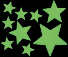 This pack of sixteen glow in the dark stars are ideal for decorating bedrooms and classrooms. Each star is solid plastic with clever photoluminescent phosphors in them which collect UV light from daylight or artificial light and store it up until darkness falls.