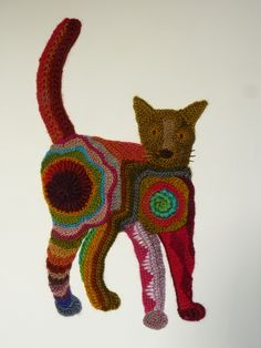 Freeform crocheted Cat by Ann*Benoot, inspired by Zentangle Drawing of power animals. Textile art 'painting' 40x50 cm