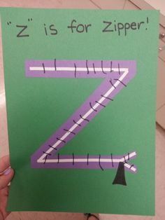 Pin this for later in the year when you introduce the alphabet letter Z! Love that it's a zipper in the shape of a Z. Very clever! Preschool Letter Crafts, Alphabet Letter Crafts, Abc Crafts, Preschool Projects, Alphabet Book, Alphabet Activities, Letter Art, Ps Letter, Preschool Activities