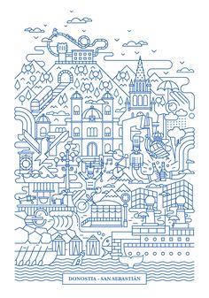 Basque Country, Screen Printing, Tourism, Diagram, Scrapbook, Graphic Design, Cool Stuff, Illustration, Prints
