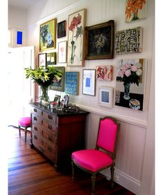 hot pink chair in foyer hallway and gallery wall. Love the personal feeling. Pops of color. Decor, House Design, Interior, Eclectic Home, Decor Inspiration, Eclectic Gallery Wall, Home Decor, House Interior, Pink Chair