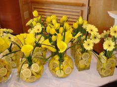 Lemon filled vases