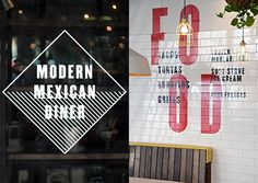 Environmental graphics designed by Buro Creative for UK Mexican dining concept DF / Mexico. Featured on bpando.org