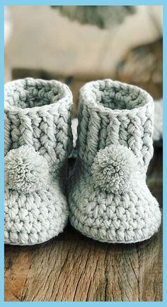 (Baby Booties Crochet Newborn) - Cute And Adorable Crochet Baby Booties Patterns And Images Crochet Baby Boots Pattern, Baby Booties Free Pattern, Booties Crochet, Crochet Baby Clothes, Crochet Baby Shoes, Newborn Crochet, Crochet Slippers, Baby Knitting Patterns, Crochet Patterns