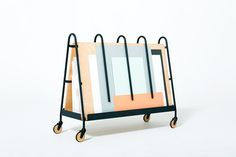 Paper Trolley by Drill Design furniture via prodeez- design, trolley Metal Furniture, Home Decor Furniture, Contemporary Furniture, Furniture Design, Bookcase Storage, Shelving, Industrial Design, Drill, Cool Designs
