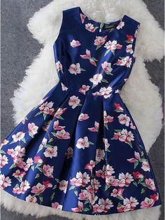 Cheap Blue Plum Flower Print Sleeveless Dress For Big Sale!Blue Plum Flower Print Sleeveless Dress, made of cotton and silk, shape and color last long. Casual Dresses, Short Dresses, Fashion Dresses, Prom Dresses, Summer Dresses, Sleeveless Dresses, Floral Dresses, Dress Prom, Cheap Dresses