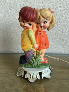 True Vintage Ceramic Lamp  Little Boy & Girl  by MissAtomicShop