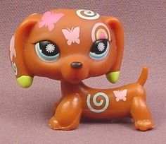 Littlest Pet Shop #1010 Brown Dachshund Puppy Dog with Colorful Designs & Blue Eyes, 2006