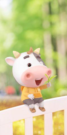 Cow Wallpaper, Watercolor Wallpaper, Wallpaper Backgrounds, Iphone Wallpaper, Animated Cow, Kawaii Doodles, Cute Cows, Little Pigs, Cute Cartoon Wallpapers