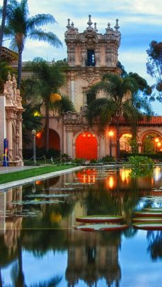"Balboa Park, El Prado, San Diego, CA. ""My father grew up in San Diego. Earliest memories of Balboa Park are riding there from Yuma, AZ on the back of my dad's motorcycle when I was a kid. Places Around The World, The Places Youll Go, Places To See, Around The Worlds, Dream Vacations, Vacation Spots, Wonderful Places, Beautiful Places, Beautiful Park"