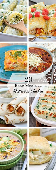 20 Easy Meals with Rotisserie Chicken #recipe