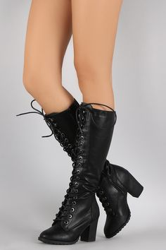 Bamboo Combat Lace Up Chunky Heeled Knee High Boots                                                                                                                                                      More