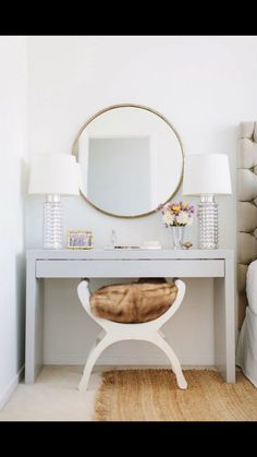 This vanity is actually an Ikea Hack - Kristen Kerr had her dad spray paint a plain white Ikea Malm dressing table a high gloss gray then paired it with a brass mirror from - from design sponge - Daily Home Decorations Home Interior, Interior Decorating, Decorating Ideas, Decor Ideas, Interior Ideas, Interior Architecture, Ikea Interior, Ideas Fáciles, Ideas Para