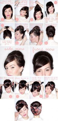 trendy hairstyles bandana rockabilly hair tutorials – Tutorial Per Capelli Bandana Hairstyles, Retro Hairstyles, Girl Hairstyles, Wedding Hairstyles, Hairstyles Videos, Beehive Hairstyle, Easy Hairstyles, Scarf Hairstyles Short, Casual Hairstyles