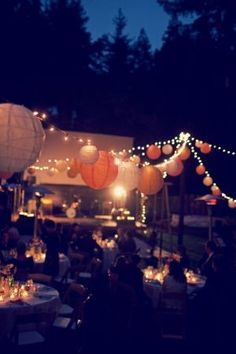 Fairy lights and lanterns, the perfect dinner party decorations. 21 Party, Festa Party, Party Time, Garden Parties, Outdoor Parties, Summer Parties, Outdoor Weddings, Outdoor Party Decor, Backyard Weddings