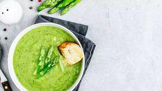Polévka zezeleného chřestu - Proženy Cream Soup, Grey Stone, Asparagus, Vegetables, Ethnic Recipes, Gray, Food, Photos, Studs