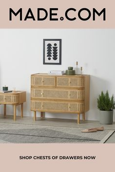 Diy Drawers, Chest Of Drawers, Rattan, Magazin Design, Engineered Wood, Bed Storage, Minimalist Bedroom, House Rooms, Soft Furnishings