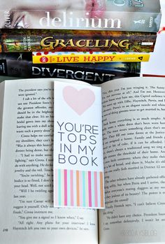 You're Tops In My Book Printable Valentine's Day Bookmark from www.thirtyhandmadedays.com