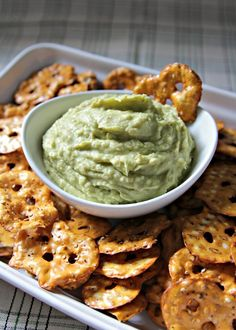 Avocado Hummus - just avocado, white beans, lime juice, cayenne, salt, and olive oil.