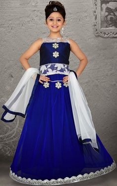 picture of contemporary blue color kids lehenga choli - Images To Color For Kids