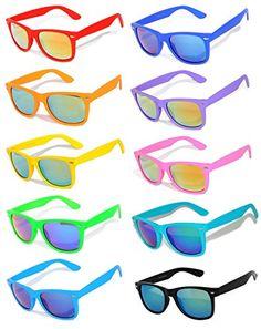 23b13eaad8c Amazon.com  Owl Retro Vintage Sunglasses Colorful Mirror Lens Matte Frame  10 Pairs  Clothing