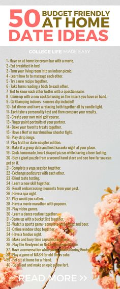 50 Stay at Home Stay at Home Date Night Ideas / List of Cheap, Frugal, Budget, Fun & Creative Things to Do on Valentines Day / Free Printable #datenightideas #datenight #dateideas #frugal #frugalliving #collegelife #20s #fun