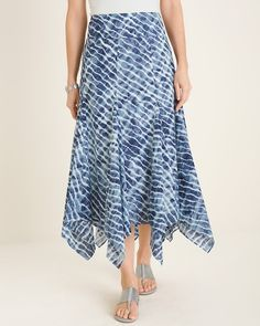 Tie-Dye Maxi Skirt - Women's Clothing, Jewelry & More - New Arrivals - Chico's Maxi Skirt Style, Dress Skirt, Womens Maxi Skirts, Tie Dye Maxi, Tie Dye Designs, Gray Skirt, Cotton Style, Skirt Fashion, Clothes For Women
