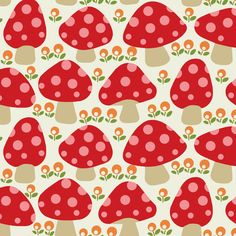 Dottie mushrooms _ Red fabric by hoodie crescent