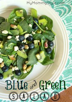 blue and green salad with raspberry vinaigrette