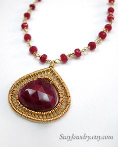 Wire Wrapped Necklace - Woven Framed Ruby (14k GF)  N-0144