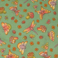 """Pretty Butterfly & Dragonfly Fabric Five - 6""""  Cotton Fabric Block Quilt Charm  5 Pieces Pretty Butterfly  Dragonfly # 301-1102 by AlwaysInStitchesCo on Etsy"""