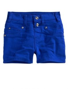 High-Waisted Colored Denim Shorts from Justice. Justice, it is time for you to face the truth. You make clothes for 8 year olds, not 18 year olds. I repeat: Your stuff is for little girls. NOT TEENS! If they dress like this now, by the time they're 12 they'll be wearing super short shorts and bandeaus! Stop selling teen stuff to 8 year olds!