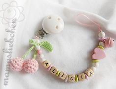 Pacifier clip chain / Dummy holder, keeper personalized name, cherry, heart… Handgemachtes Baby, Baby Toys, Crochet For Kids, Crochet Toys, Crochet Pacifier Clip, Pram Charms, Kids Headbands, Diy Bebe, Pacifier Holder