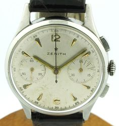 1950's Vintage Zenith 2 Register Chronograph Stainless Steel Watch