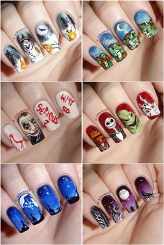 Fall Nail Art Design Ideas for Halloween Holiday Nail Designs, Fall Nail Art Designs, Halloween Nail Designs, Creative Nail Designs, Halloween Nail Art, Fall Halloween, Fancy Nail Art, Fancy Nails, Love Nails