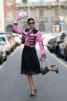 Olé! Giovanna Battaglia wore Dolce & Gabbana to the designers' show in Milan. The bolero/band jacket has been a big …