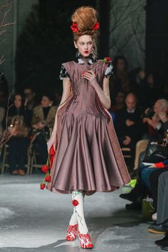 Jemma Baines - Thom Browne NYFW  Fall 2013. Whimsical Alice in Wonderland dress, high bun