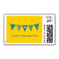 Pennant Flag Postage- Blue. Wanna make each letter a special delivery? Try to customize this great stamp template and put a personal touch on the envelope. Just click the image to get started!
