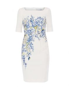 White with Blue Floral Print Stretch Cotton Dress   LK Bennett   Halsbrook